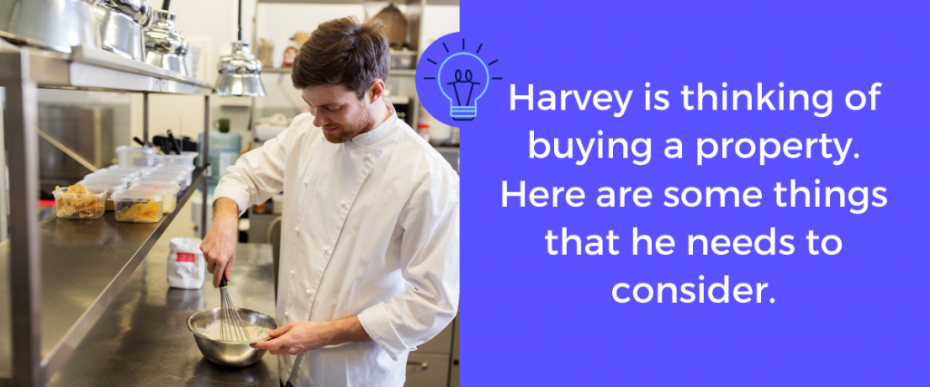 Harvey's picture of thinking buying a property for expanding his business.