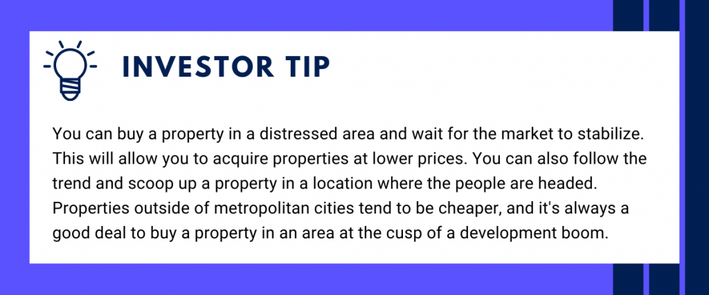Investor tip, how to find location - buy property in a distress area and wait for the area to stabilize