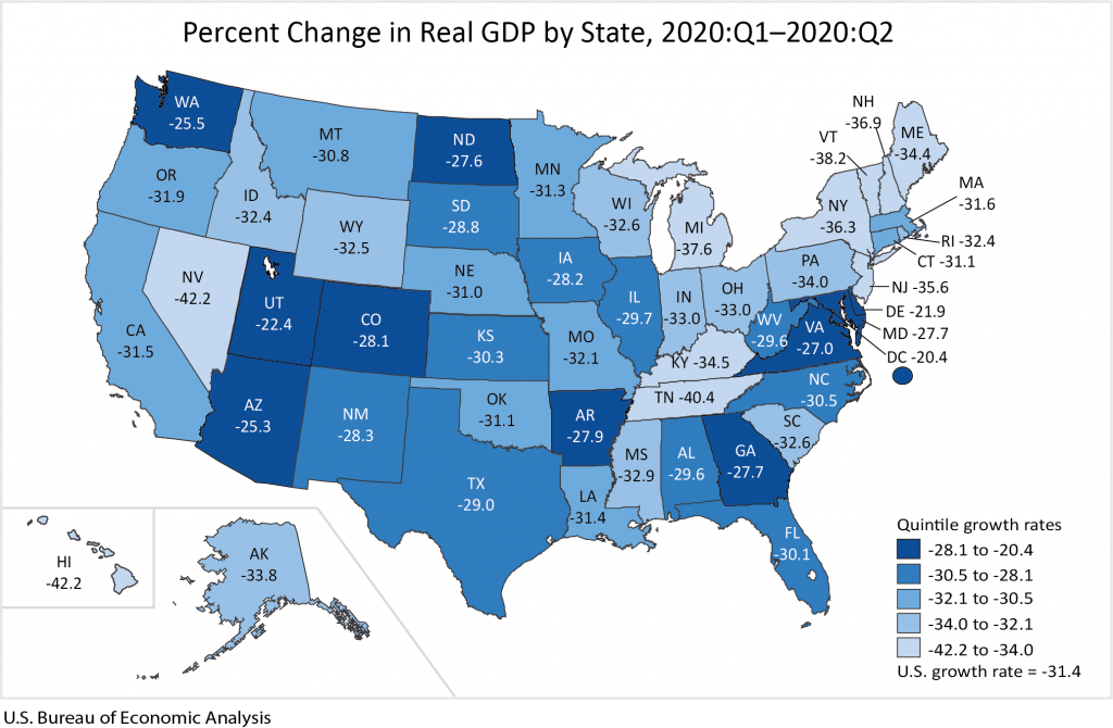 US Bureau of Economic Analysis, percentage of change in real GDP by state - year 2020, quarter 1 - 2